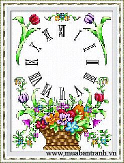 Tranh thêu chữ thập: Đồng hồ