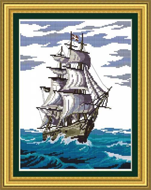 Tranh thêu chữ thập: Thuận buồm xuôi gió