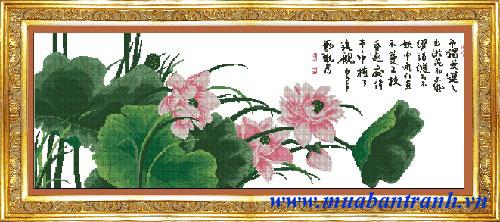 Tranh thêu chữ thập: Hoa sen