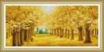 Tranh thêu chữ thập con đường mùa thu
