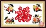 Tranh thêu chữ thập: 4 ông thần tài (in màu)