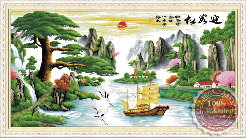 Tranh thêu chữ thập: Thuận buồm xuôi gió (in màu) 2
