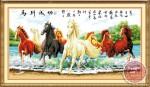 Tranh thêu chữ thập: Bát mã quần thủy (in màu)
