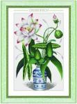 Tranh thêu chữ thập: Bình hoa sen (in màu) 2