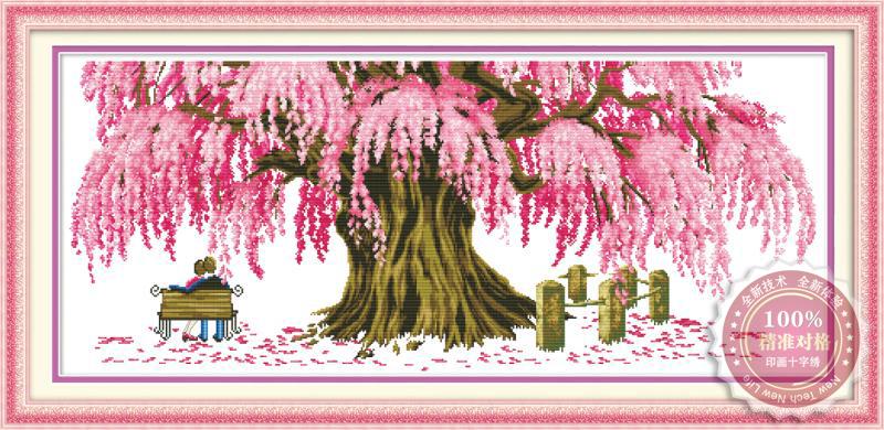 Tranh thêu chữ thập: Cây tình yêu (in màu)