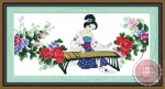 Tranh thêu chữ thập: Công chúa gảy đàn tranh (in màu)