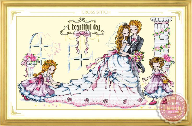 Tranh thêu chữ thập: Ngày cưới (in màu)