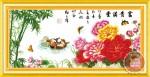 Tranh thêu chữ thập: Đôi uyên ương (in màu)