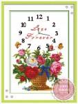 Tranh thêu chữ thập đồng hồ, lẵng hoa