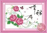 Tranh thêu đồng hồ: Hoa hồng Y8123