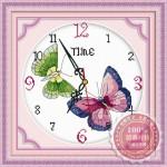 Tranh thêu đồng hồ, đôi bướm