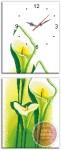 Tranh thêu đồng hồ, hoa loa kèn